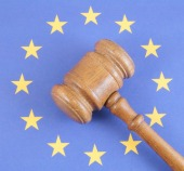 Gavel and EU, image courtesy of Shutterstock