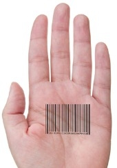 Hand bar code, courtesy of Shutterstock