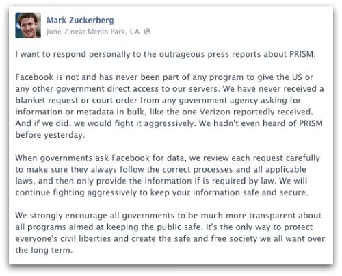 Message from Zuckerberg on PRISM