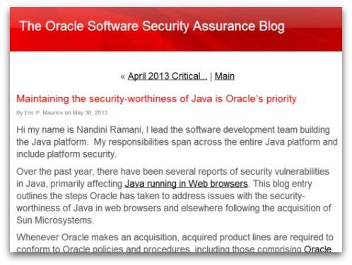 Oracle blog post