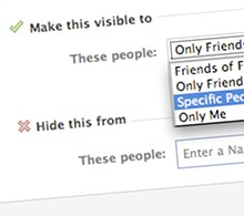 Selecting privacy settings in Facebook