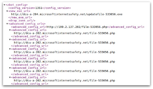 Screenshot of configuration file