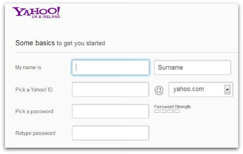 Yahoo login screen