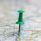Pin in map. Image courtesy of Shutterstock.