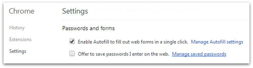 Chrome password settings