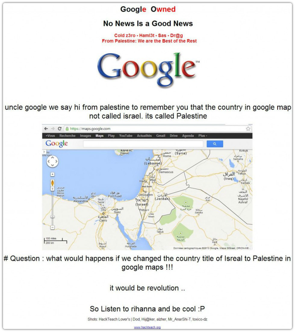 Screenshot of Google Palestine after it was hijacked