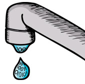 Leaky tap. Image courtesy of Shutterstock.