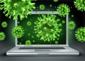 Viruses on laptops. Image courtesy of Shutterstock