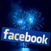 Fireworks and Facebook logo courtesy of Shutterstock and PromesaArtStudio