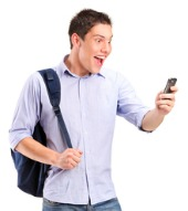 Guy surprised with phone. Image courtesy of Shutterstock