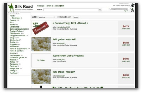 Silk Road Marketplace screenshot from September 2012