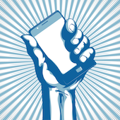 Image of mobile and hand courtesy of Shutterstock
