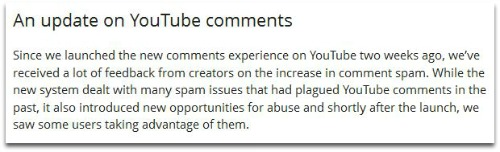 YouTube comments update