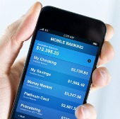 Mobile banking app. Image courtesy of Shutterstock