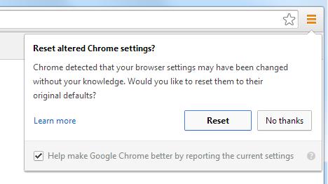 Chrome reset button screenshot