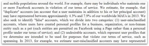Facebook 10-K limitations