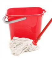Mop and bucket. Image courtesy of Shutterstock.