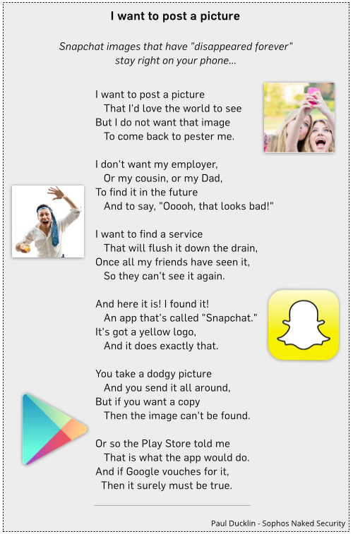 """Click to read: """"Snapchat images that have disappeared forever stay right on your phone..."""""""