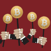 Image of auction and bitcoins, courtesy of Shutterstock