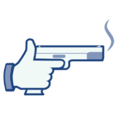 Image of Facebook style gun courtesy of Shutterstock
