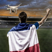 Image of French football and drone, courtesy of Shutterstock