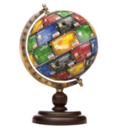 Cards and globe, courtesy of Shutterstock. Composite.