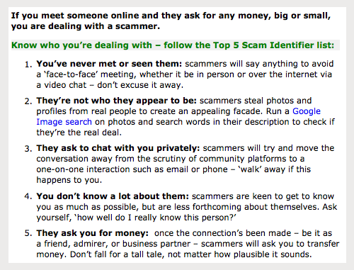 Click to see the tips on the SCAMwatch.gov.au site...
