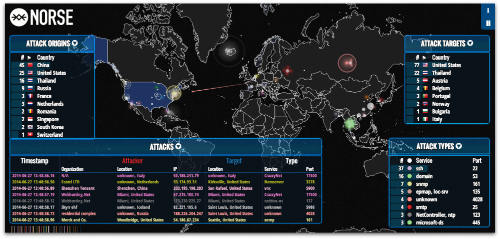 Snapshot from Norse real-time cyberthreat heatmap