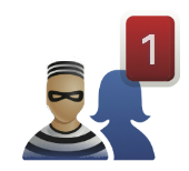 Image of robber and Facebook friends courtesy of Shutterstock
