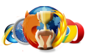 Composite image of browser logos and champion's cup from Shutterstock
