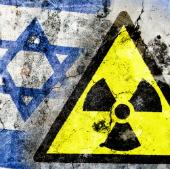 Radiation sign on an Israeli flag, courtesy of Shutterstock