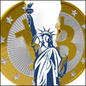 Images of Bitcoin and Statue of Liberty courtesy of Shutterstock