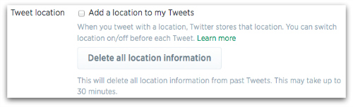 Tweet location in privacy and security settings