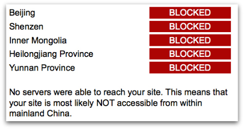 Screenshot from BlockedinChina of Instagram test
