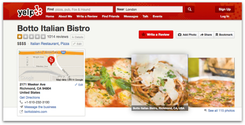 Yelp screenshot of Botto Bistro