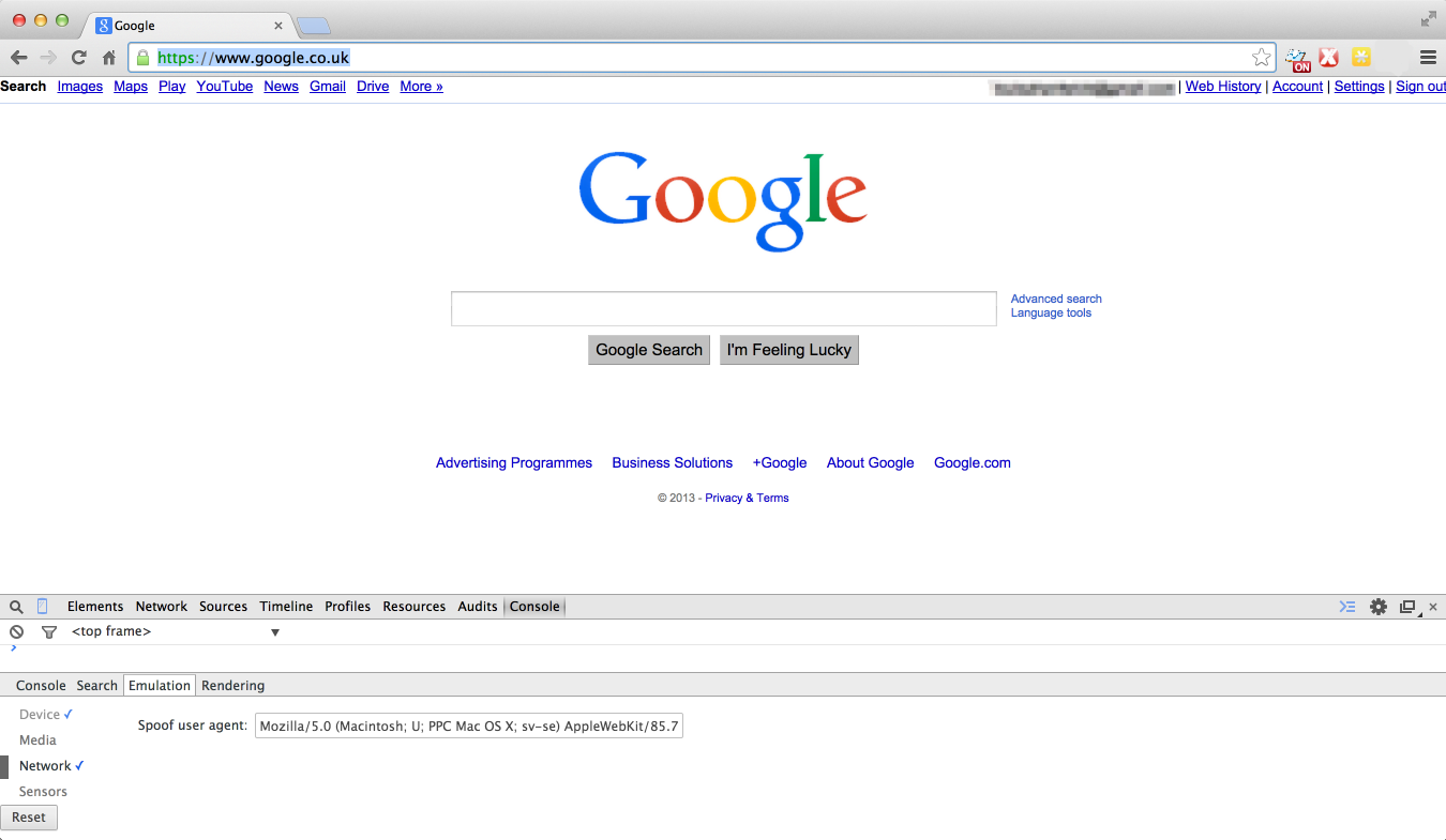 Google viewed with a Safari 3 user-agent header