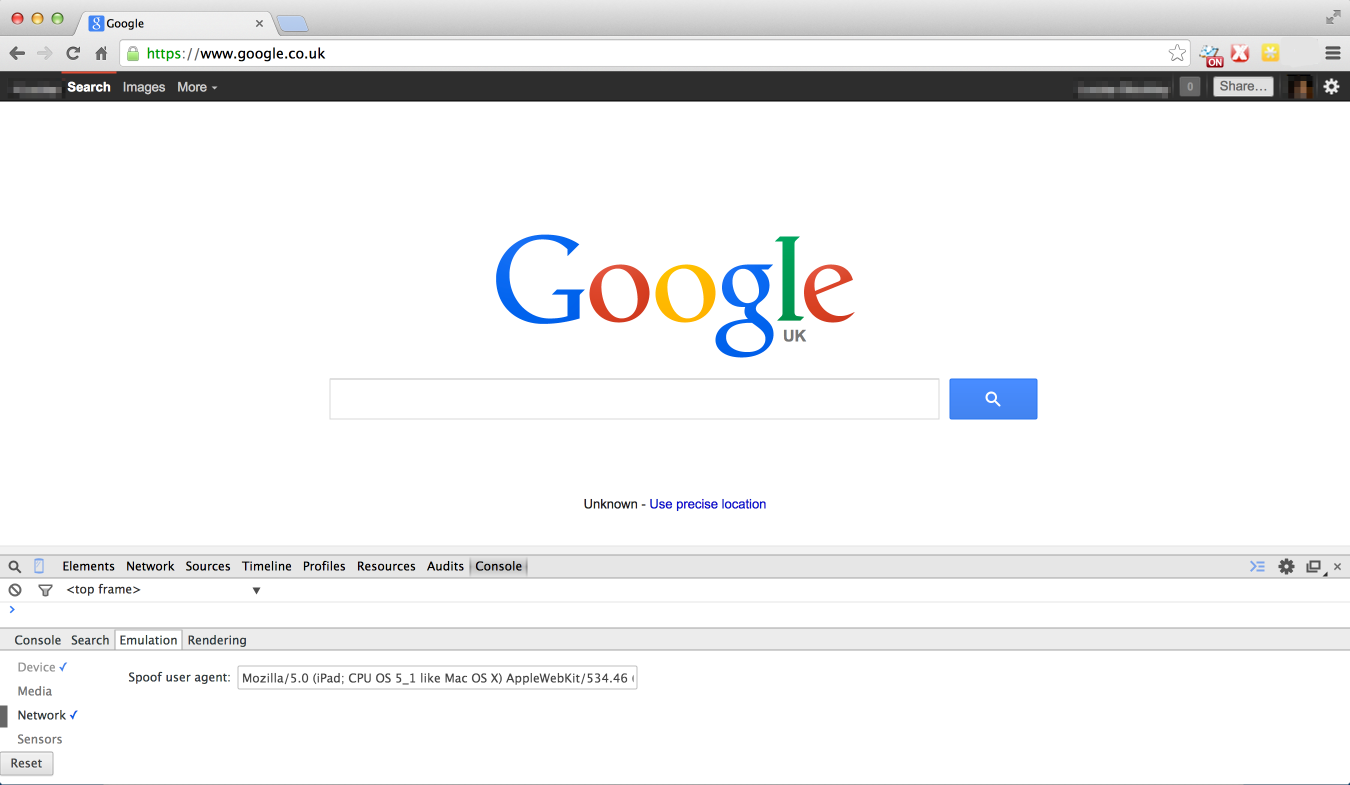 Google viewed with a Safari 5 user-agent header