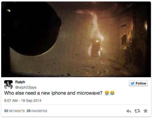 Twitter status iPhone 6 microwave