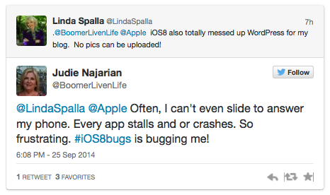 Twitter screenshot2 - iOS 8 bugs
