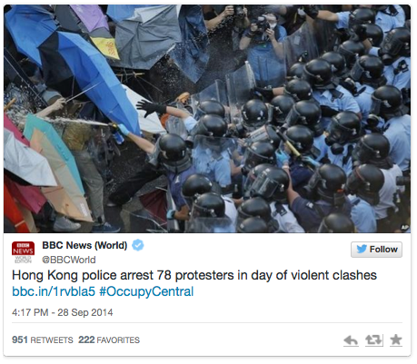Twitter BBC World News OccupyCentral