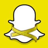 Snapchat logo, with tape measure courtesy of Shutterstock