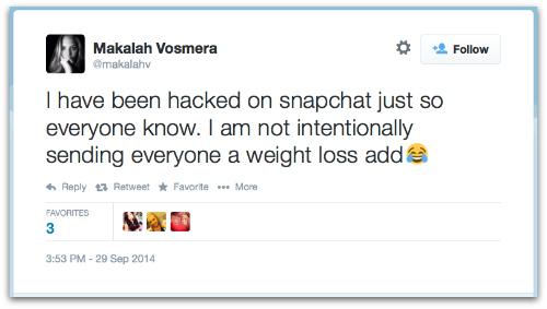 Screenshot of Snapchat fat spam hack message