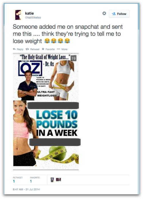 Screenshot of Snapchat spam