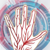 Composite image courtesy of Shutterstock - veiny hand and futuristic background