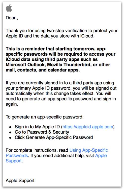 Apple 2SV reminder