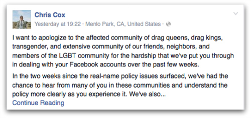Chris Cox's apology on Facebook to the LGBT community