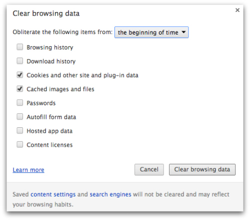 Chrome - clear browsing data