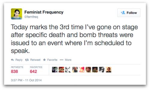 @femfreq Twitter status in Gamergate