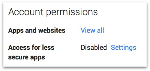 Gmail Account permissions