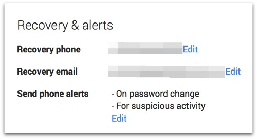 Gmail recovery and alerts